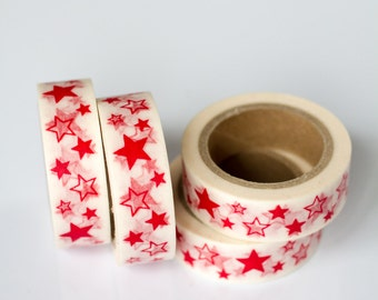 WASHI TAPE CLEARANCE - 1 Roll of Red and White Stars Washi Tape / Decorative Masking Tape (.60 inches wide x 33 feet long)