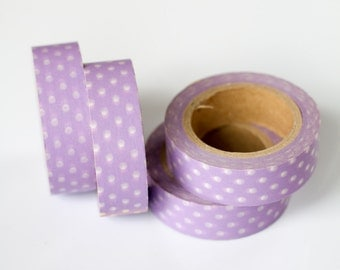 WASHI TAPE CLEARANCE - 1 Roll of Purple and White Polka Dot Washi Tape / Decorative Masking Tape (.60 inches x 33 feet)