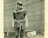"Vintage Photo ""Robin Hood Sighting"" Costume Snapshot Photo Old Antique Photo Black & White Photograph Found Paper Ephemera Vernacular - 103"