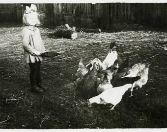 """Vintage Photo """"Little Chicken Feeder"""" Snapshot Photo Old Antique Photo Black & White Photography Found Photo Paper Ephemera Vernacular - 117"""