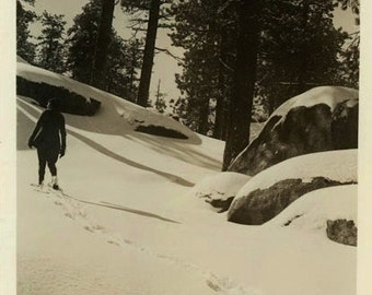 "Vintage Photo ""The Last Snowfall"" Winter Snapshot Photo Old Antique Photo Black & White Photograph Found Photo Paper Ephemera Vernacular"