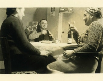 "Vintage Photo ""After Dinner Toast"" Drinking Wine Snapshot Photo Old Antique Photo Black & White Photograph Found Photo Paper Ephemera - 01"