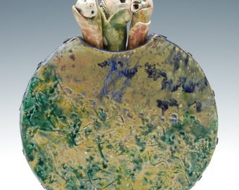 Three Heads Singing Their Hearts Out!  Ceramic Sculpture