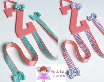 Initial Letter Hair Accessories Organizer - Coral, Aqua Blue Green or Gray Chevron (Hair Bow & Headband Holder) Baby Girl, Girl or Teen Room