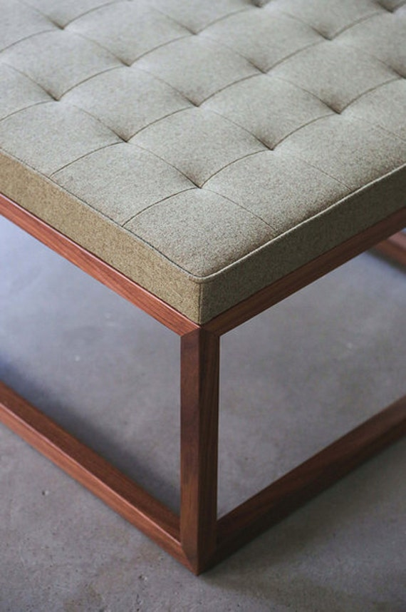 Tufted Upholstered Ottoman Coffee Table Bench With Solid