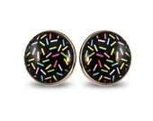 80s Donut Big Studs - Black Colorful Funny Girlie Bold Pink Kitschy Retro Pop Post Confetti Sugar Eighties