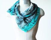 aqua turquoise silk chiffon scarf, summer scarf