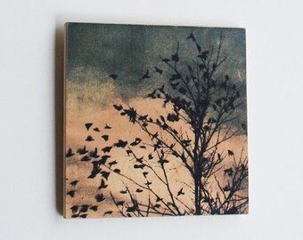 Art on birch panel, ready to hang art, 88 editions Dove series