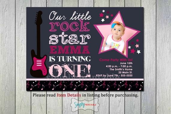1st Birthday Girl Rock Star Invitation First Birthday Invite