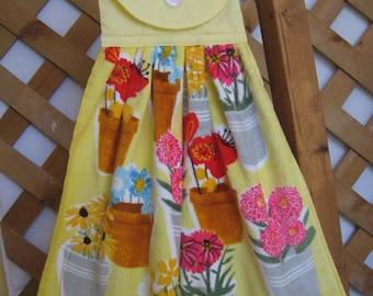 Flower Pot Kitchen Tea Towel LAST ONES Hanging Kitchen Dish Towel with Flowers and Pots Hanging Kitchen Dish Towel SnowNoseCrafts