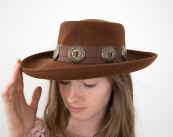 Brown Felt Western Hat with Sash and Medallions