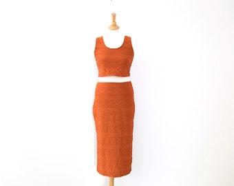 Upcycled Burnt Orange Textured Two-Piece Set