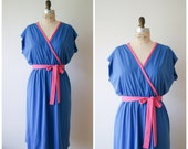 Vintage Wrap Dress / 70s Blue and Pink Casual Summer Dress / Medium