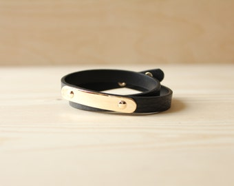 YC Gold Brass Soft Togo Leather Bracelet(Black)