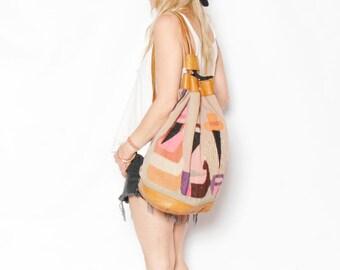 Vintage Oversize Kilim Bag, Ecuador Wool Backpack
