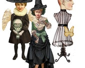 Halloween paper dolls time traveler craft supplies for altered art and Journals steampunk Gothic paper dolls and kittens collage kit DIY
