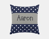 Square Name Pillow Cover - Navy Polka Dot, Solid Gray - Liam