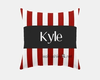 Square Name Pillow Cover - Red Stripe, Solid Black - Mason