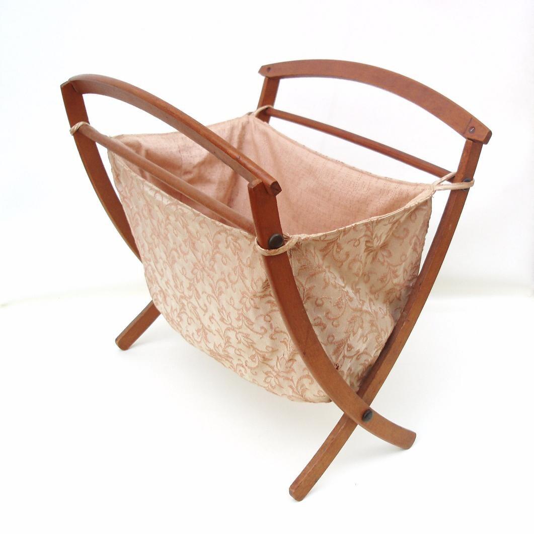 Vintage Folding Knitting Basket : Vintage folding sewing basket small knitting project bag