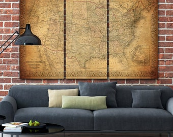 Vintage Usa Map On Canvas Vintage Map Large Wall Map Canvas Art