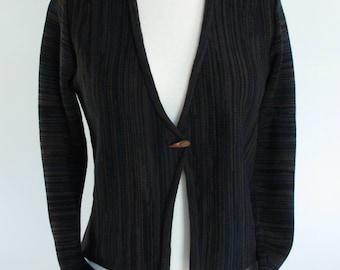 Women's Cropped Cardigan Sweater, Merino Wool, Black Variegated Stripe