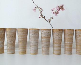 Hand painted set of eight vintage french juice cups / smoothie cups / coffee/  tea