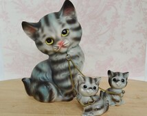 Vintage Cat Mother and Baby Kittens Chain Family by Brinn's