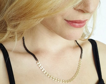 Black And Gold Necklace - chain necklace  -Geometric necklace -  squares necklace - for her - Bridesmaid gift - everyday dainty necklace