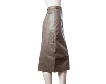 Long leather pencil skirt -- 80s / 90s vintage midi skirt -- brown leather skirt calf length -- size extra small