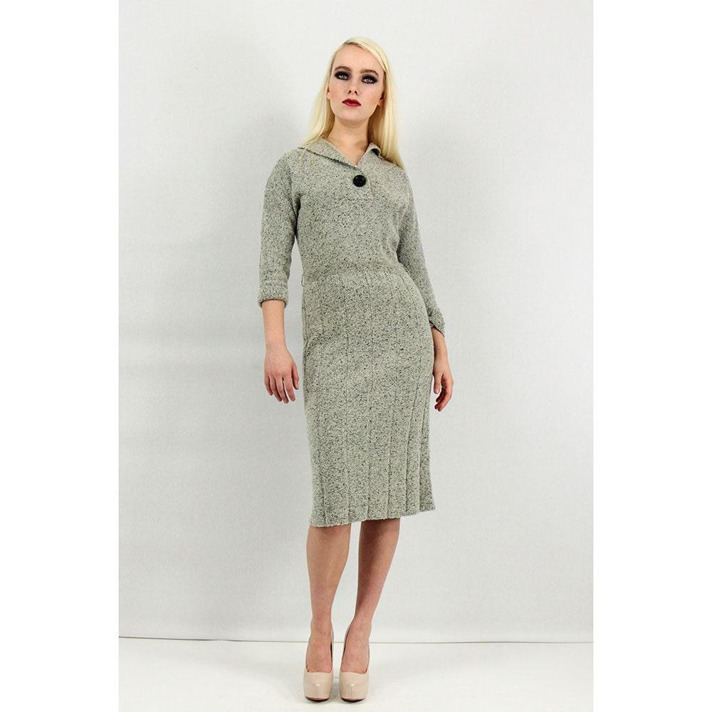 1950s dress / Grey knit wool sweater dress Lofties designed