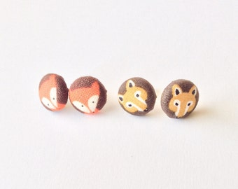 Fox Collection Covered Button Earrings