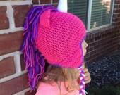 Unicorn Crochet Beanie Horse Hat with Earflaps