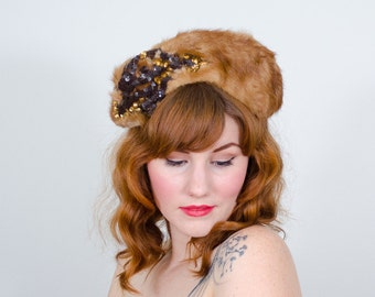 1940s vintage hat / fur hat / Irving