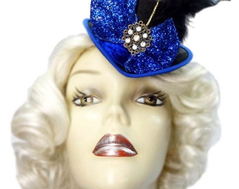 Royal Blue Mini Top Hat Jeweled Fascinator Victorian Steampunk Cocktail Tea Party Cosplay