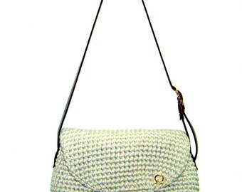 Omega bag GRAY crochet cotton yarn leather strap gold buckle magnet button satchel messenger road wanderer's bag