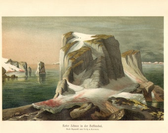 1913 Red Snow in Baffin Bay Antique Chromolithograph