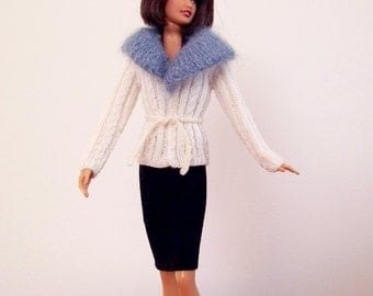 Fashion Doll Sweater, Hand Knit Doll Sweater, Cabled Doll Sweater, Knit Doll Clothes, Cream Colored Doll Jacket, Aran Fashion Doll Sweater