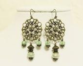 Light Green and Bronze Filigree Chandelier Earrings