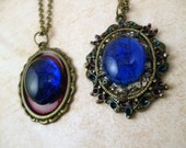 Steampunk Glass Gem Frame Necklaces - 2 Designs to Choose From - Great for a Christmas gift!