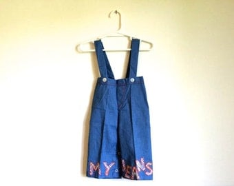 1970s KITSCH childrens OOAK overall jumper romper playsuit embroidered with plaid