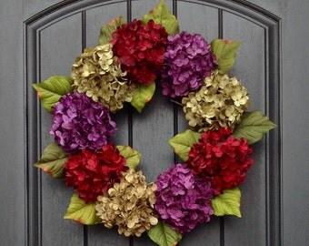 Spring Wreath Summer Wreath Fall Wreath Grapevine Door Wreath Decor Red Green Purple Hydrangea Floral Door Decoration Indoor/Outdoor