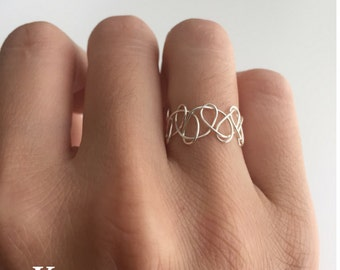TATTOO - silver-plated wire-weaved ring
