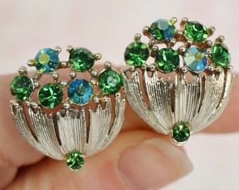 Vintage Clip-On Earrings in Silver and Green Rhinestone by Lisner