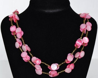 Vintage Necklace with Pink Glass Beaded Buttons Made in Japan