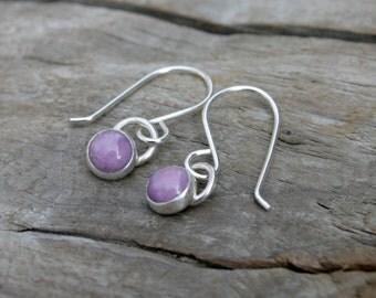6mm Petite Violet Phosphosiderite and Sterling Silver Bezel Set Dangle Earrings. Handmade sterling ear hooks.