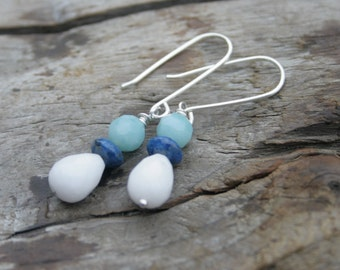 Blue and White Gemstone Wire Wrapped Sterling Silver Earrings. Lapis, Amazonite, Onyx.  Handmade ear wires, ear hooks