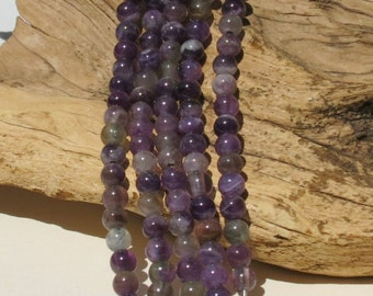 Amethyst LARGE HOLE beads - 8mm smooth round - 8 inch strand - 2.5mm Hole