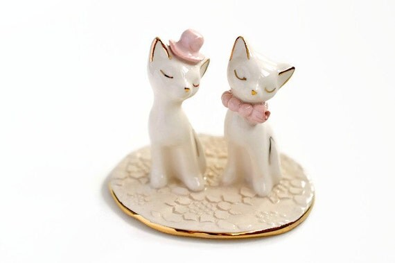 Ceramic Cat Wedding Cake Topper