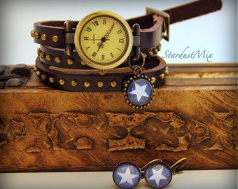Gift set vintage punk style earrings and genuine leather watch