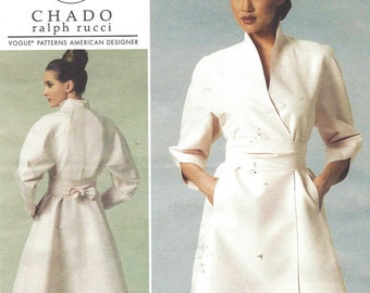 Chado Ralph Rucci Womens Wrap Dress & Belt Vogue Sewing Pattern V1239 Size 14 16 18 20 Bust 36 38 40 42 UnCut Vogue American Designer